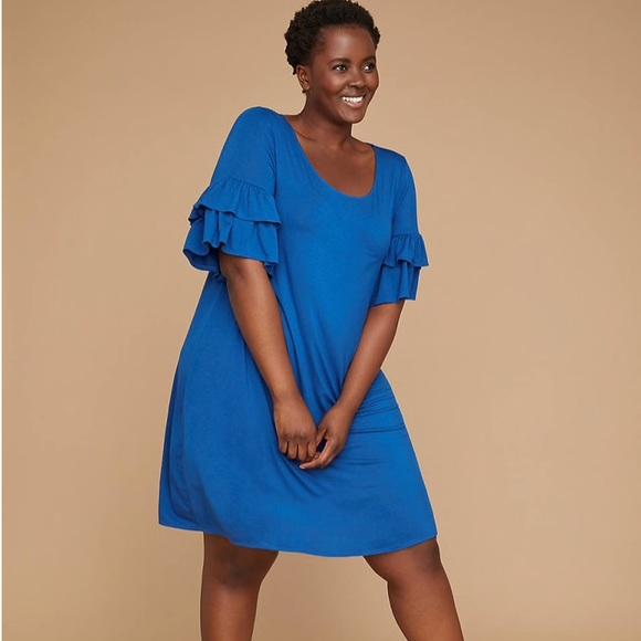 0131e58f89d19 NWT Lane Bryant ruffle sleeve swing dress